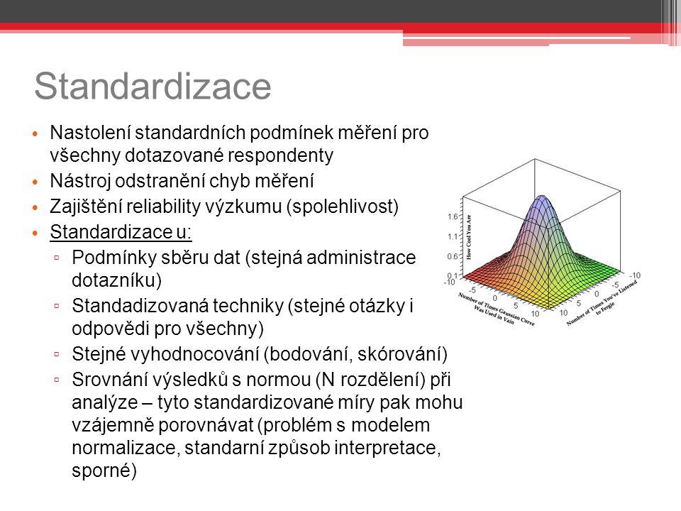 Standardizace Nastolení standardních podmínek měření pro všechny dotazované respondenty. Nástroj odstranění chyb měření.