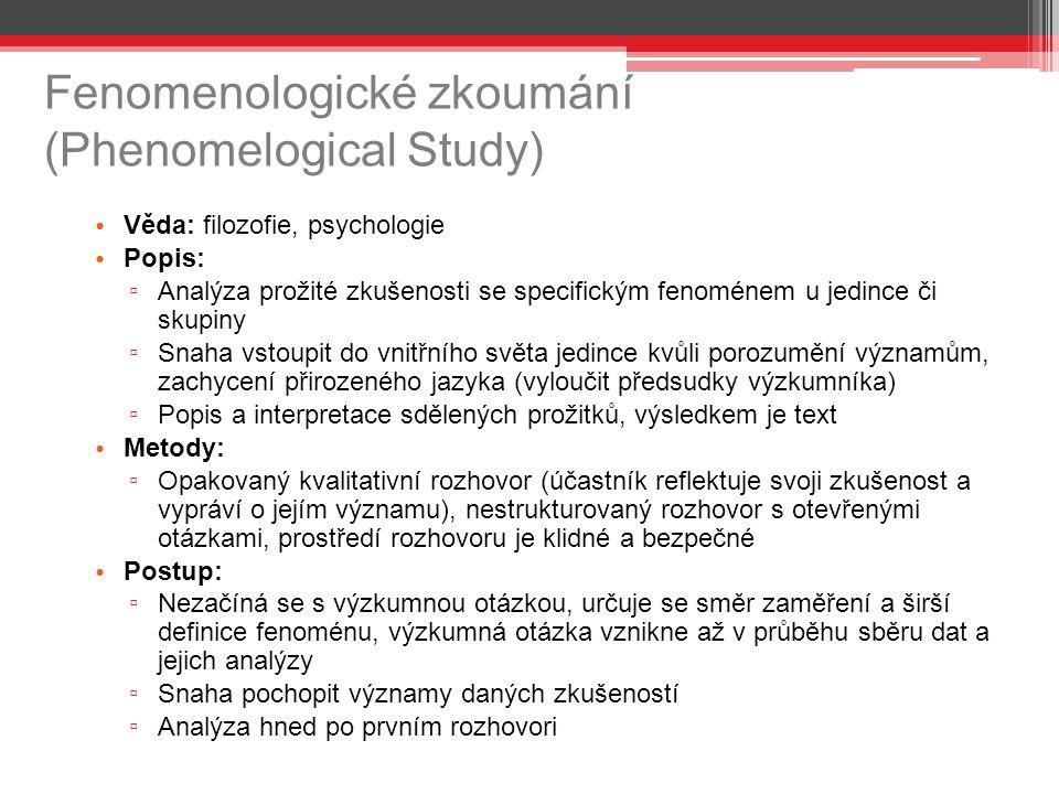 Fenomenologické zkoumání (Phenomelogical Study)