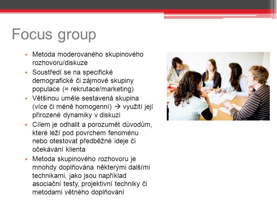 Focus group Metoda moderovaného skupinového rozhovoru/diskuze