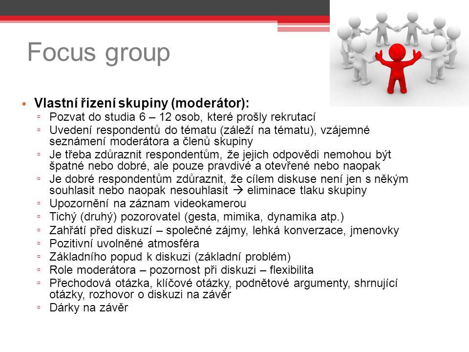 Focus group Vlastní řizení skupiny (moderátor):