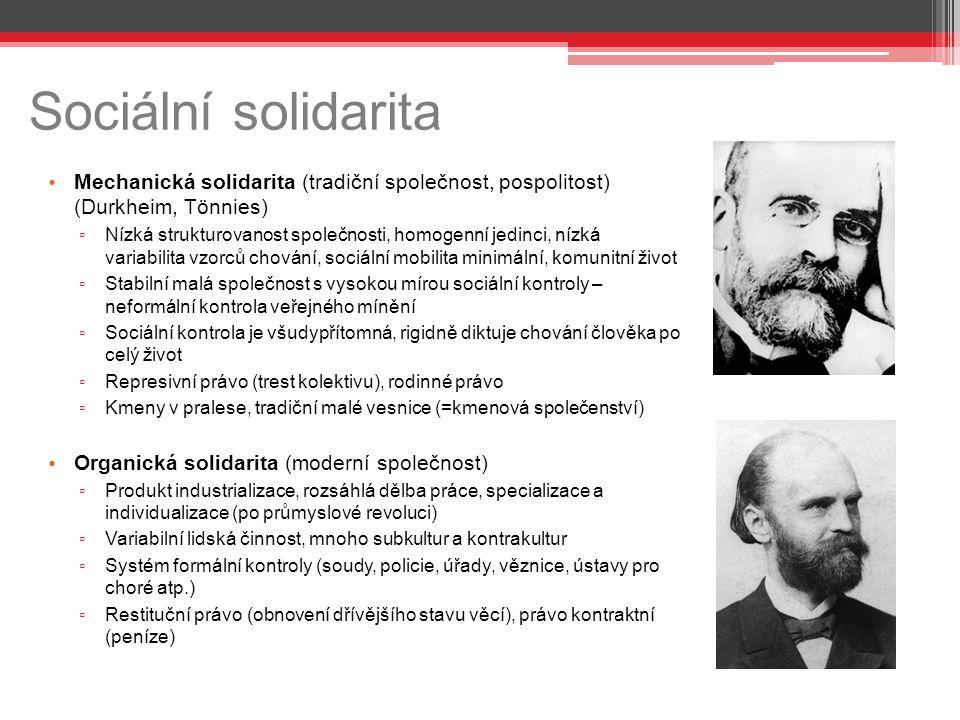 Sociální solidarita Mechanická solidarita (tradiční společnost, pospolitost) (Durkheim, Tönnies)