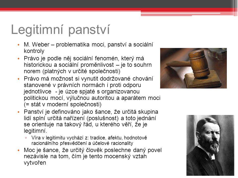 Legitimní panství M. Weber – problematika moci, panství a sociální kontroly.