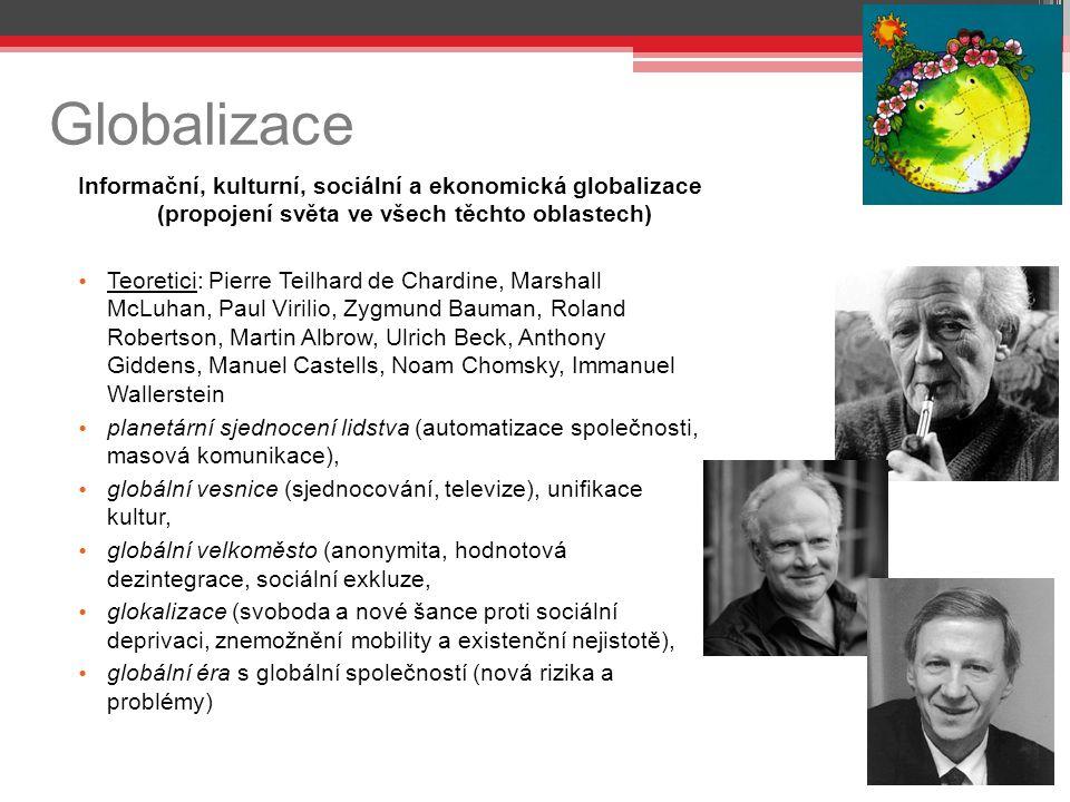 Globalizace Informační, kulturní, sociální a ekonomická globalizace (propojení světa ve všech těchto oblastech)