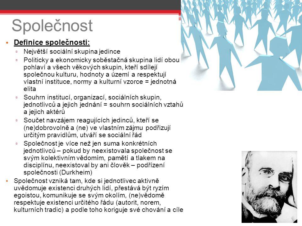 Společnost Definice společnosti: Největší sociální skupina jedince