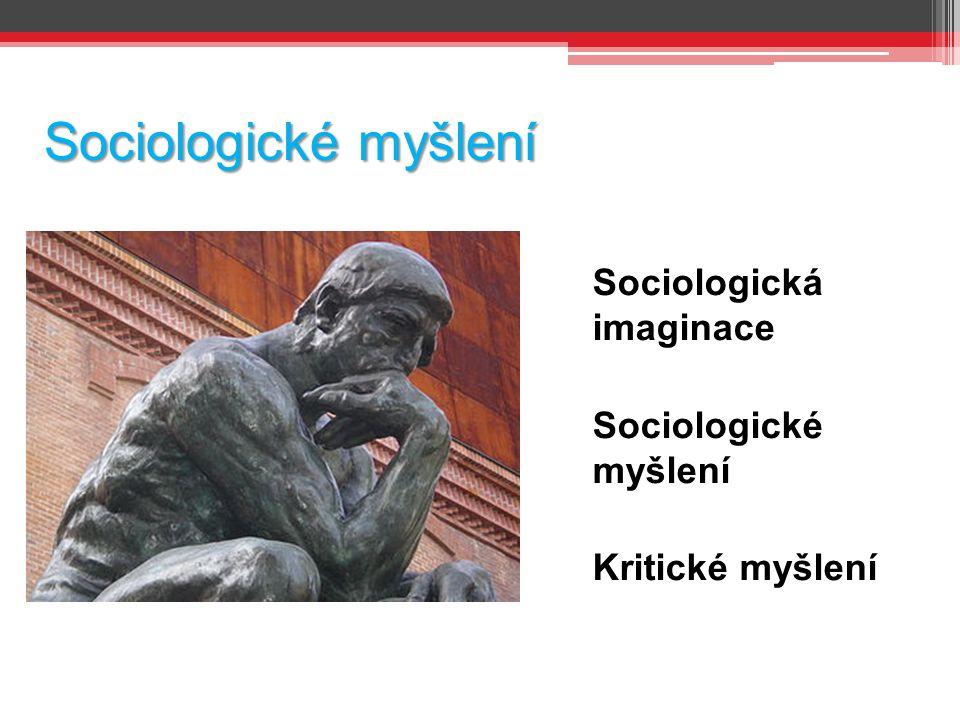 Sociologické myšlení Sociologická imaginace Sociologické myšlení