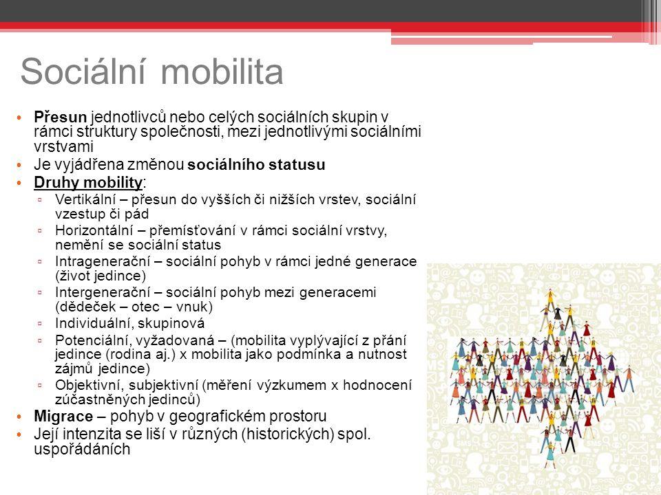Sociální mobilita Přesun jednotlivců nebo celých sociálních skupin v rámci struktury společnosti, mezi jednotlivými sociálními vrstvami.