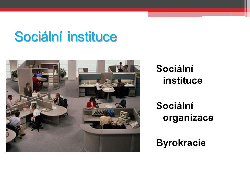 Sociální instituce Sociální instituce Sociální organizace Byrokracie