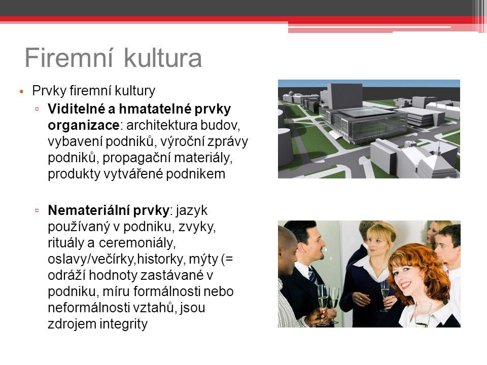 Firemní kultura Prvky firemní kultury