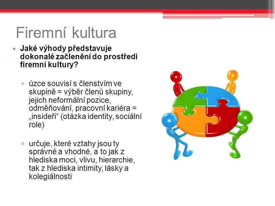 Firemní kultura Jaké výhody představuje dokonalé začlenění do prostředí firemní kultury