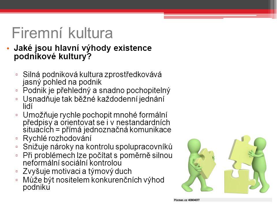 Firemní kultura Jaké jsou hlavní výhody existence podnikové kultury
