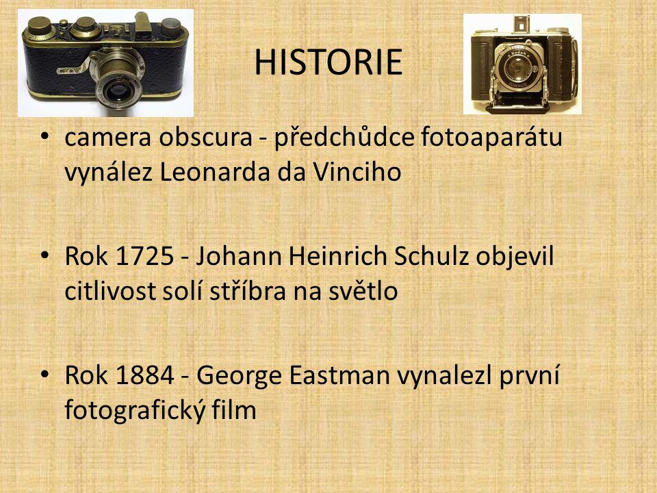 HISTORIE camera obscura - předchůdce fotoaparátu vynález Leonarda da Vinciho.