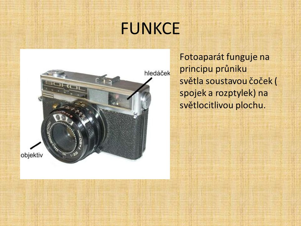 FUNKCE Fotoaparát funguje na principu průniku
