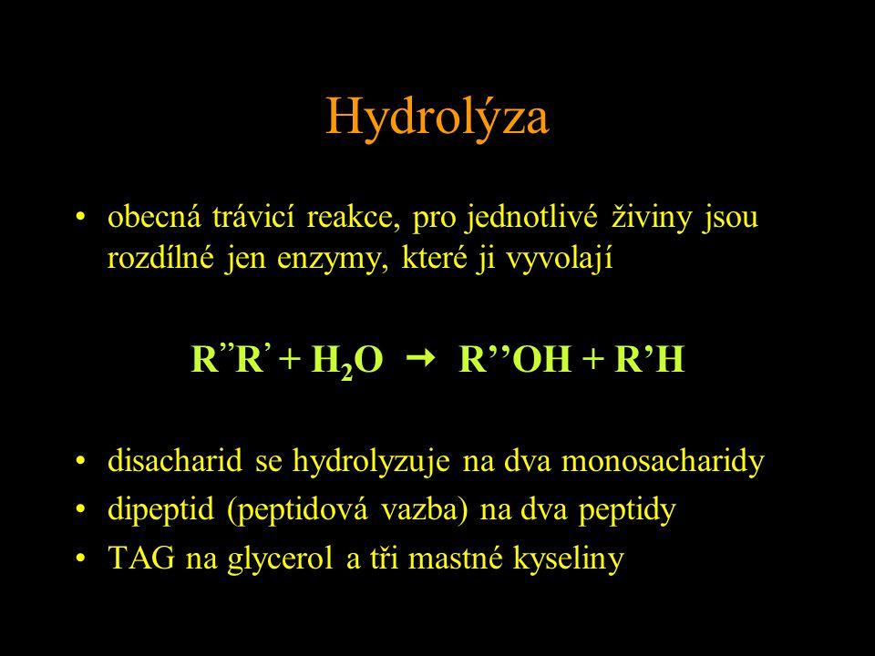 Hydrolýza R''R' + H2O  R''OH + R'H