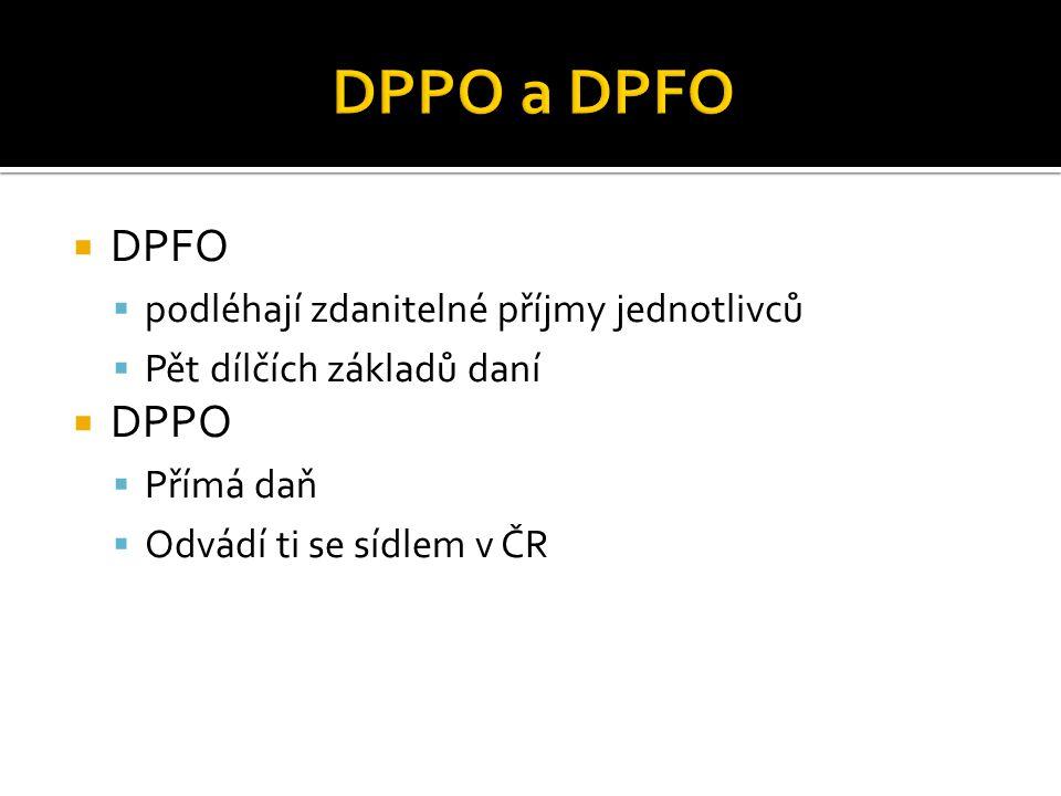 DPPO a DPFO DPFO DPPO podléhají zdanitelné příjmy jednotlivců