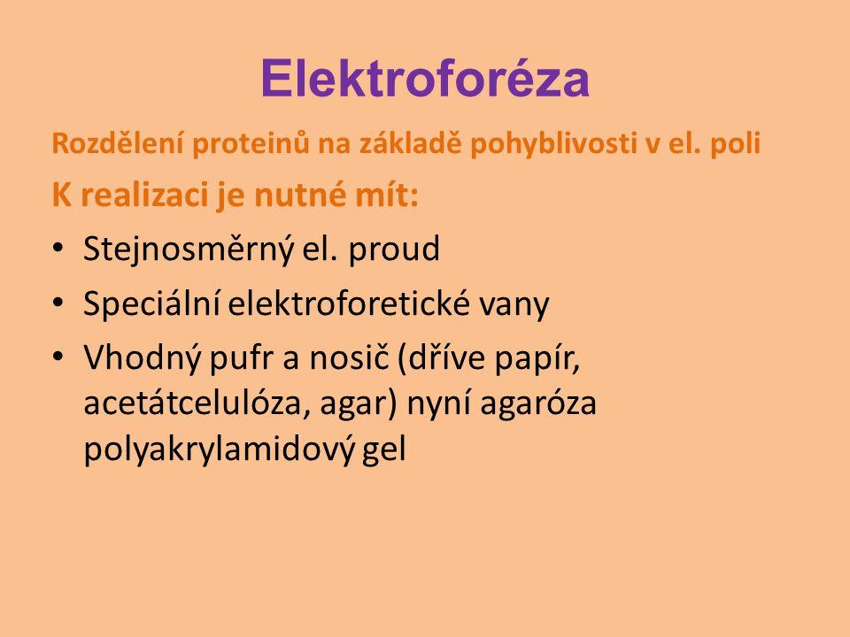 Elektroforéza K realizaci je nutné mít: Stejnosměrný el. proud