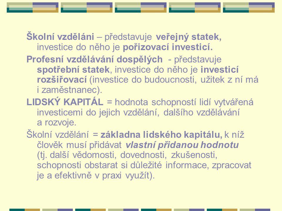 Školní vzděláni – představuje veřejný statek, investice do něho je pořizovací investicí.