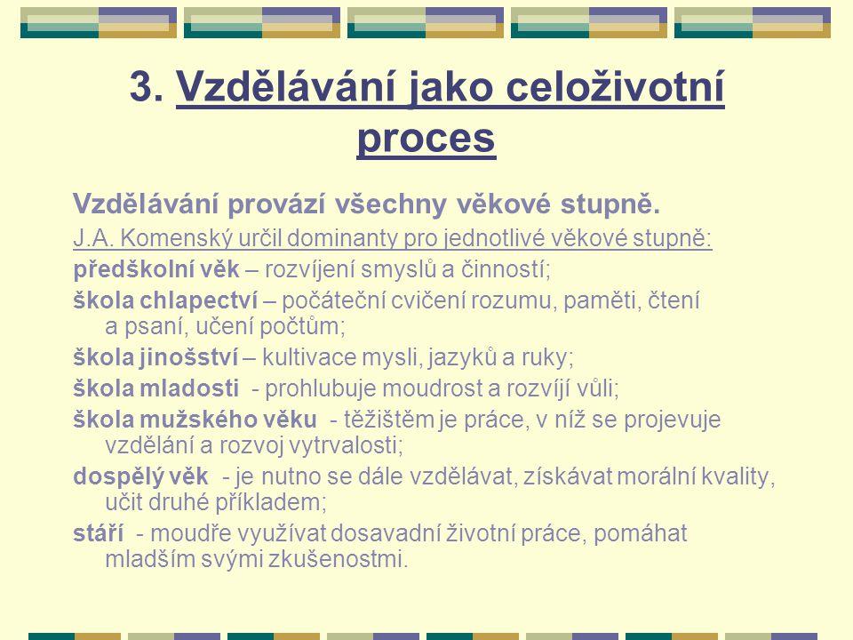 3. Vzdělávání jako celoživotní proces