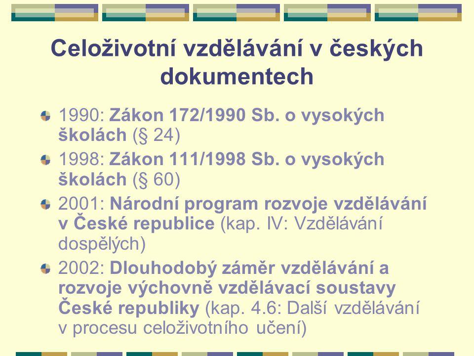 Celoživotní vzdělávání v českých dokumentech