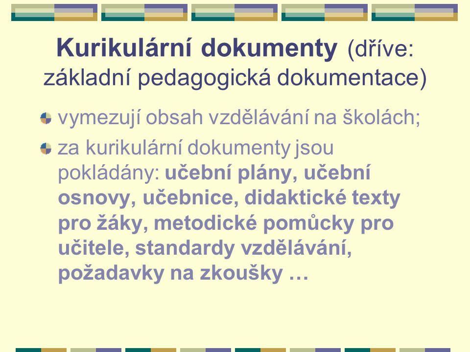 Kurikulární dokumenty (dříve: základní pedagogická dokumentace)