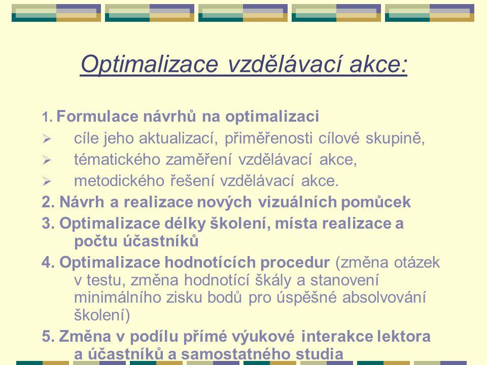 Optimalizace vzdělávací akce: