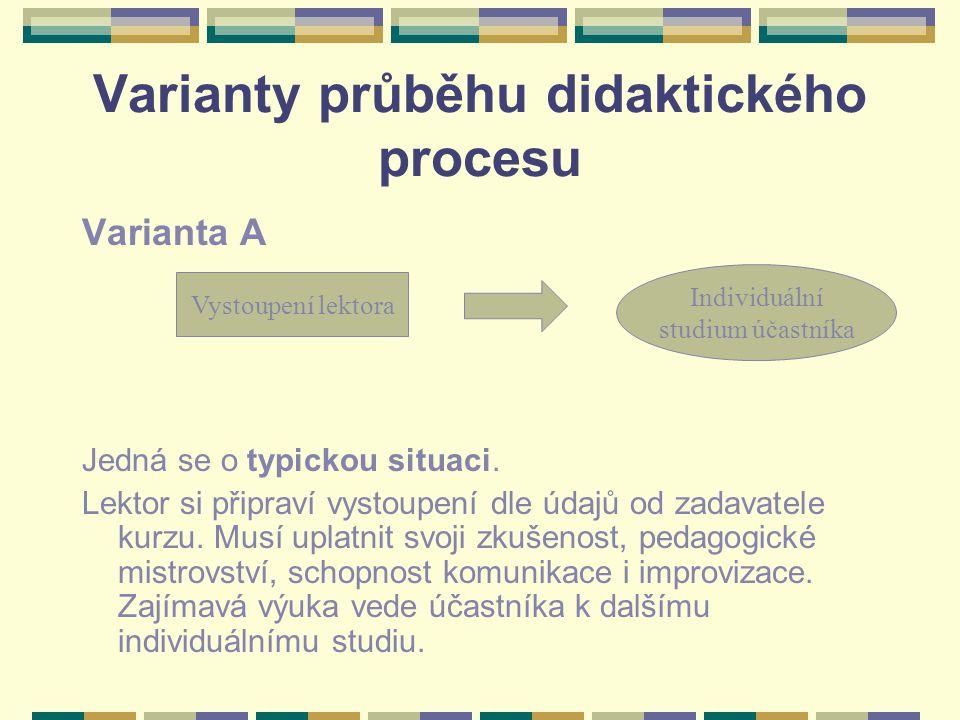 Varianty průběhu didaktického procesu