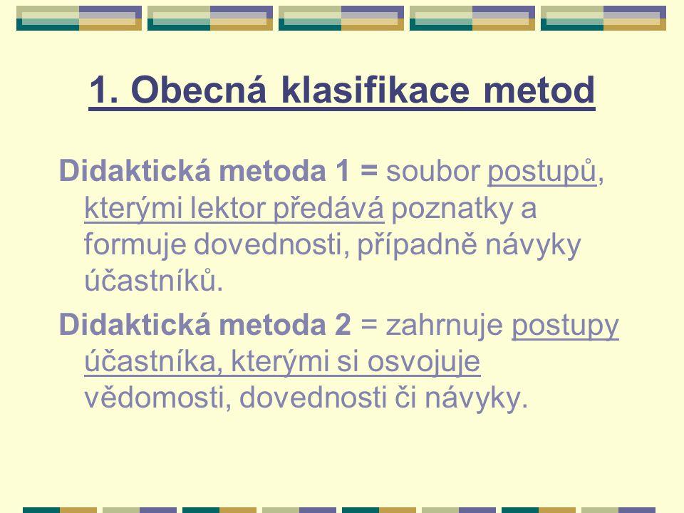 1. Obecná klasifikace metod