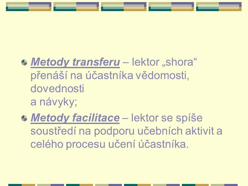 """Metody transferu – lektor """"shora přenáší na účastníka vědomosti, dovednosti a návyky;"""