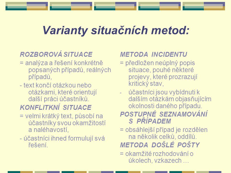 Varianty situačních metod:
