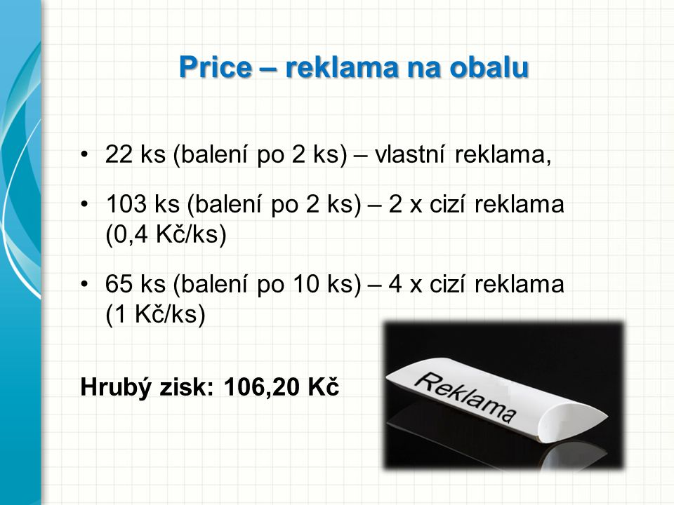 Price – reklama na obalu