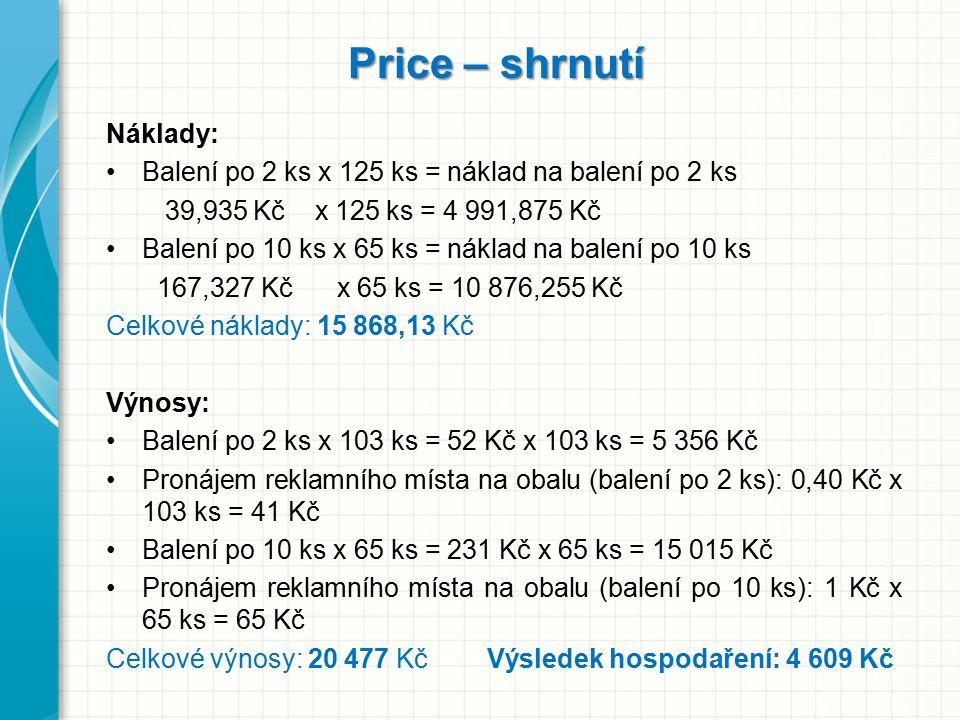 Price – shrnutí Náklady: