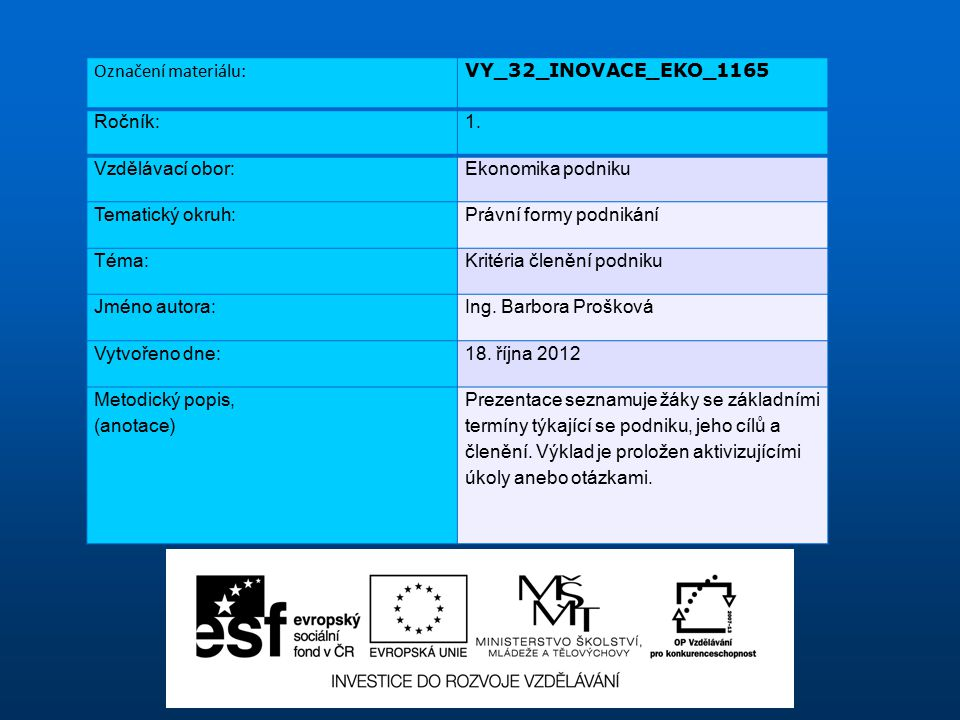 Označení materiálu: VY_32_INOVACE_EKO_1165. Ročník: 1. Vzdělávací obor: Ekonomika podniku. Tematický okruh: