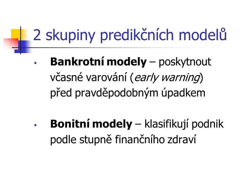 2 skupiny predikčních modelů