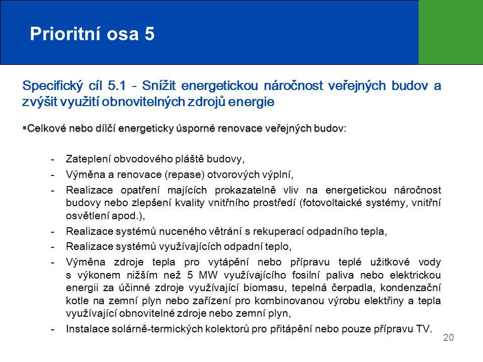 Prioritní osa 5 Specifický cíl 5.1 - Snížit energetickou náročnost veřejných budov a zvýšit využití obnovitelných zdrojů energie.