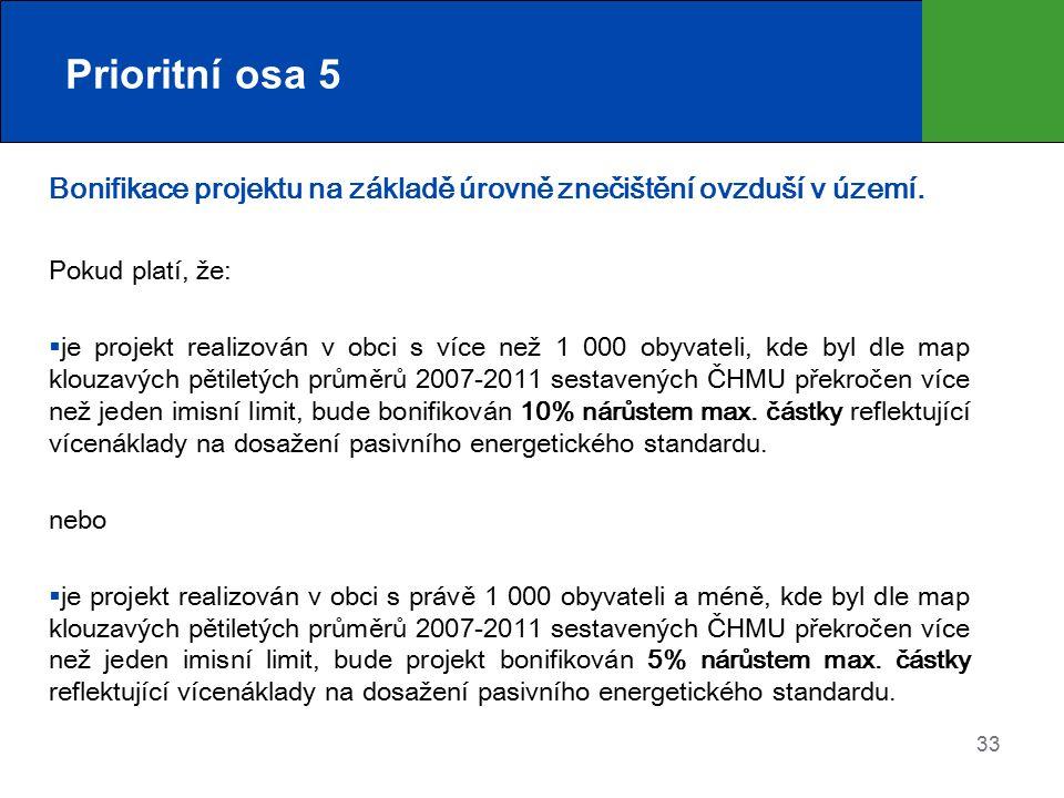 Prioritní osa 5 Bonifikace projektu na základě úrovně znečištění ovzduší v území. Pokud platí, že: