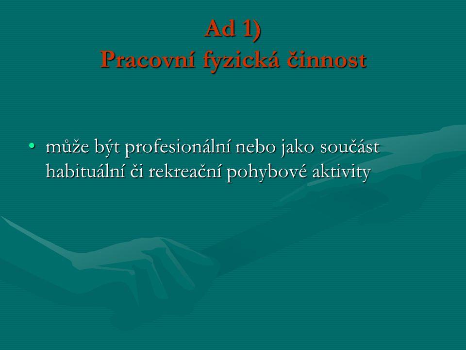 Ad 1) Pracovní fyzická činnost