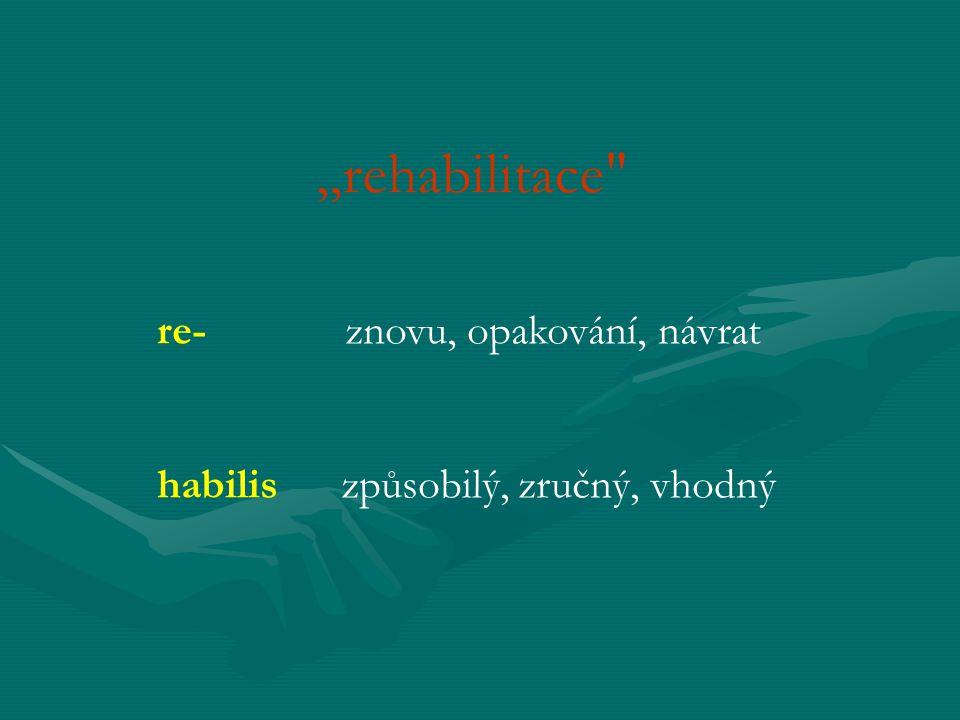 """""""rehabilitace re- znovu, opakování, návrat"""