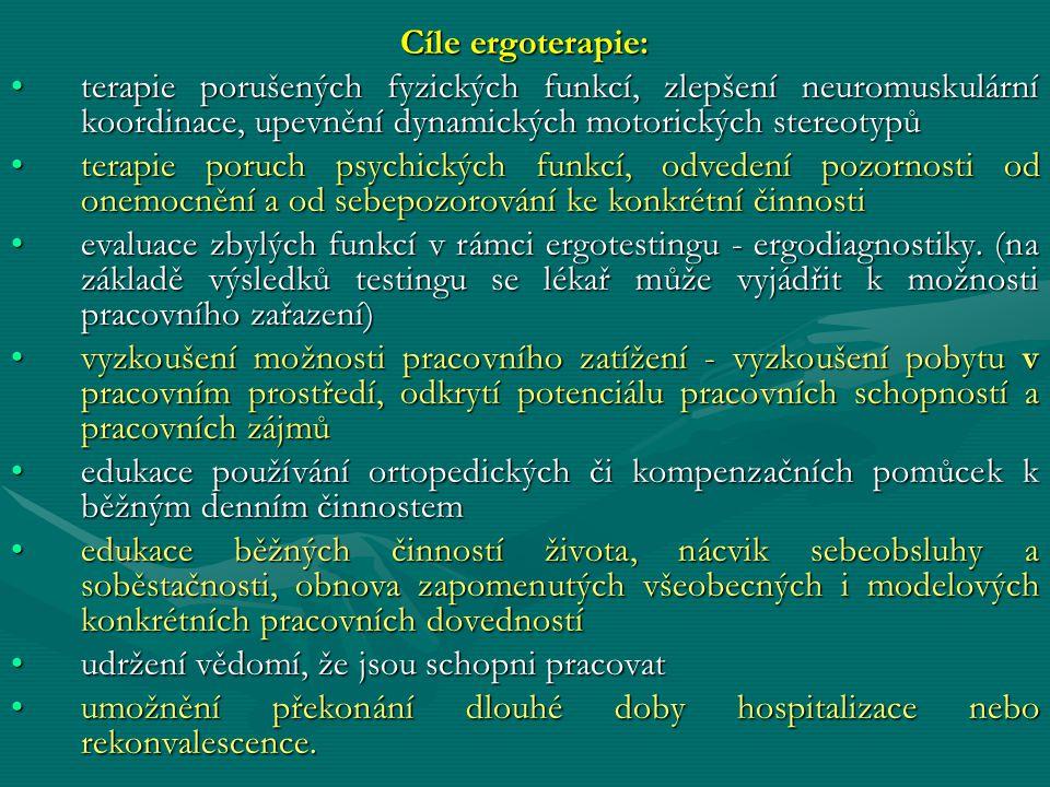 Cíle ergoterapie: terapie porušených fyzických funkcí, zlepšení neuromuskulární koordinace, upevnění dynamických motorických stereotypů.