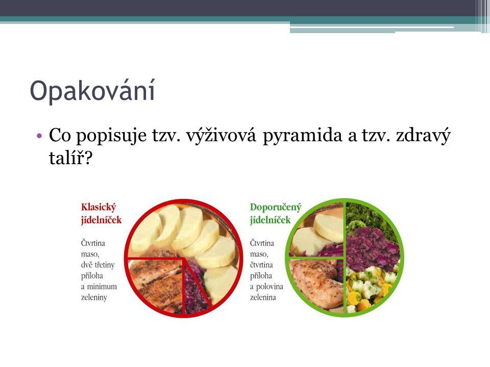 Opakování Co popisuje tzv. výživová pyramida a tzv. zdravý talíř