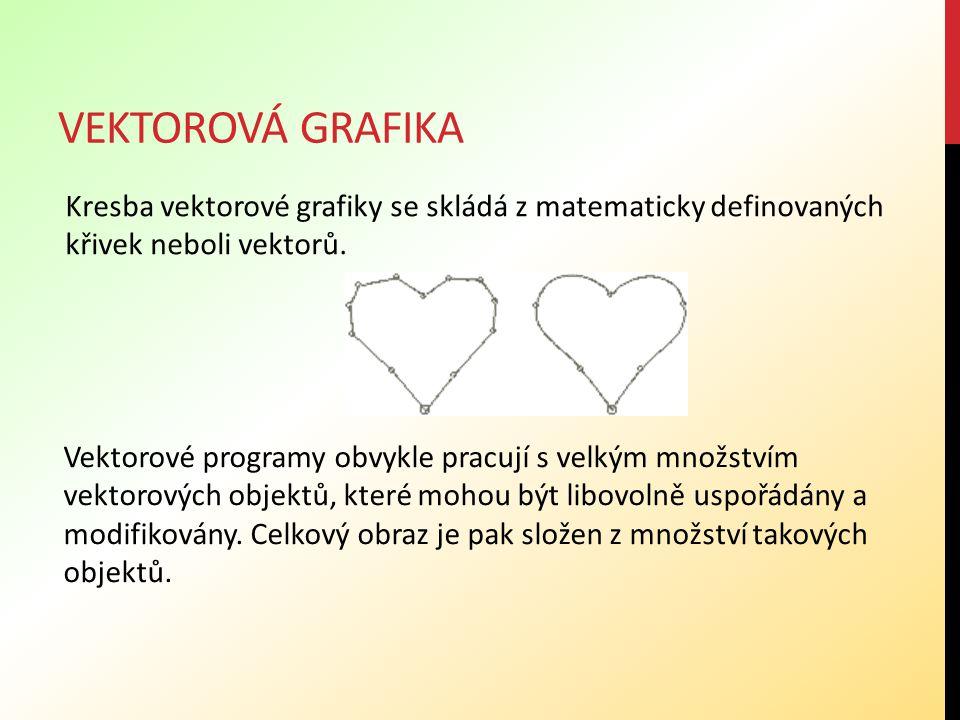 vektorová grafika Kresba vektorové grafiky se skládá z matematicky definovaných křivek neboli vektorů.