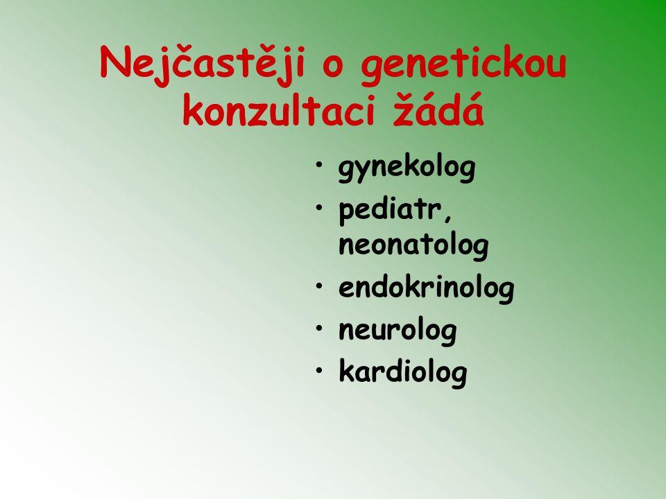 Nejčastěji o genetickou konzultaci žádá