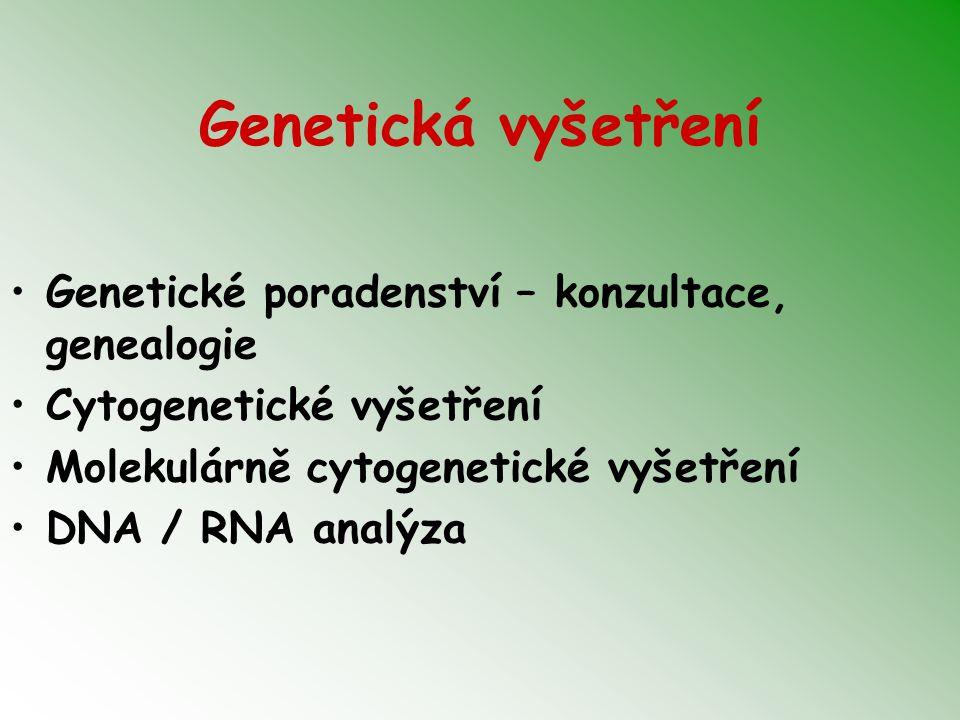 Genetická vyšetření Genetické poradenství – konzultace, genealogie