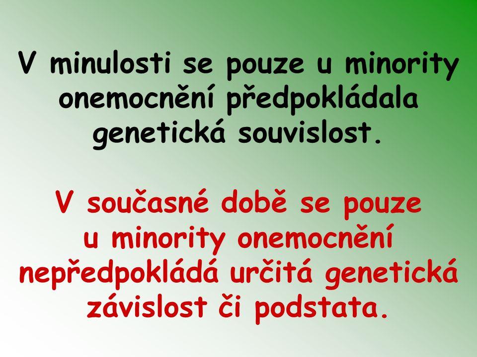 V minulosti se pouze u minority onemocnění předpokládala genetická souvislost.