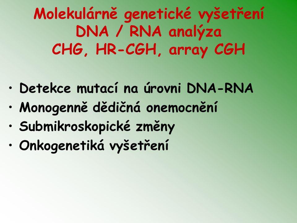 Molekulárně genetické vyšetření DNA / RNA analýza CHG, HR-CGH, array CGH