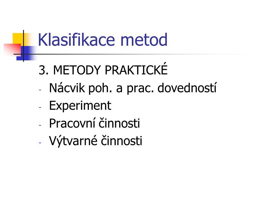 Klasifikace metod 3. METODY PRAKTICKÉ Nácvik poh. a prac. dovedností