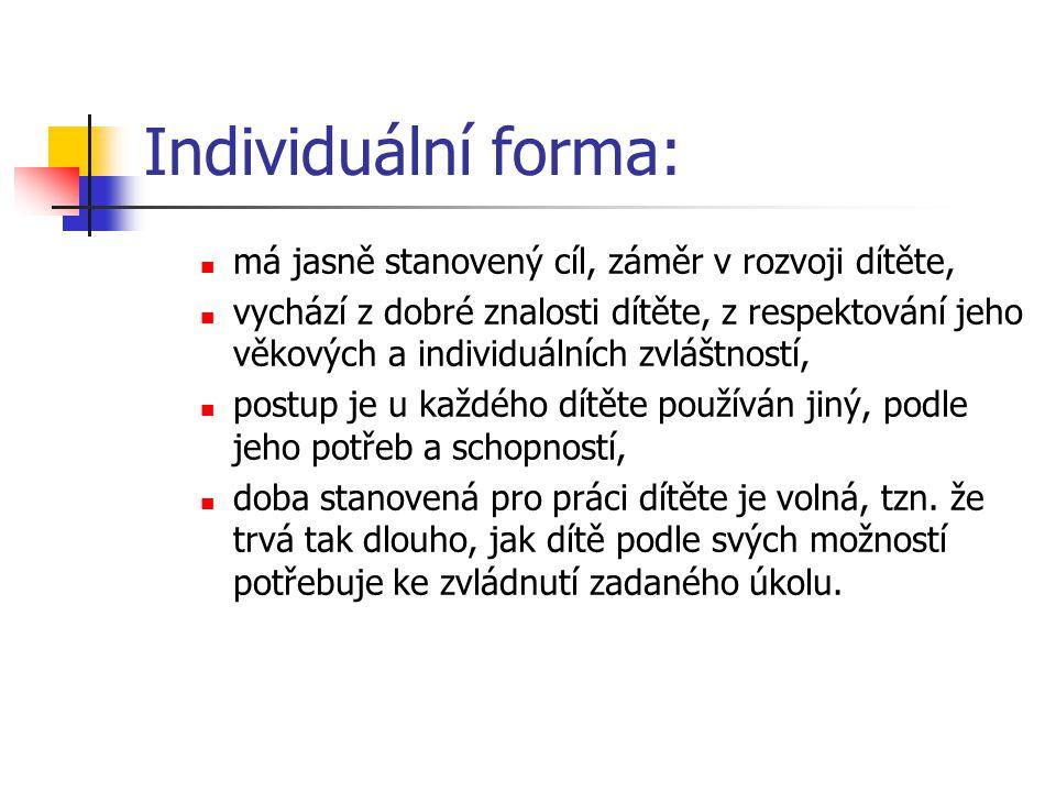 Individuální forma: má jasně stanovený cíl, záměr v rozvoji dítěte,