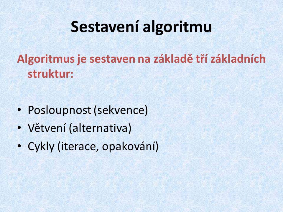 Sestavení algoritmu Algoritmus je sestaven na základě tří základních struktur: Posloupnost (sekvence)