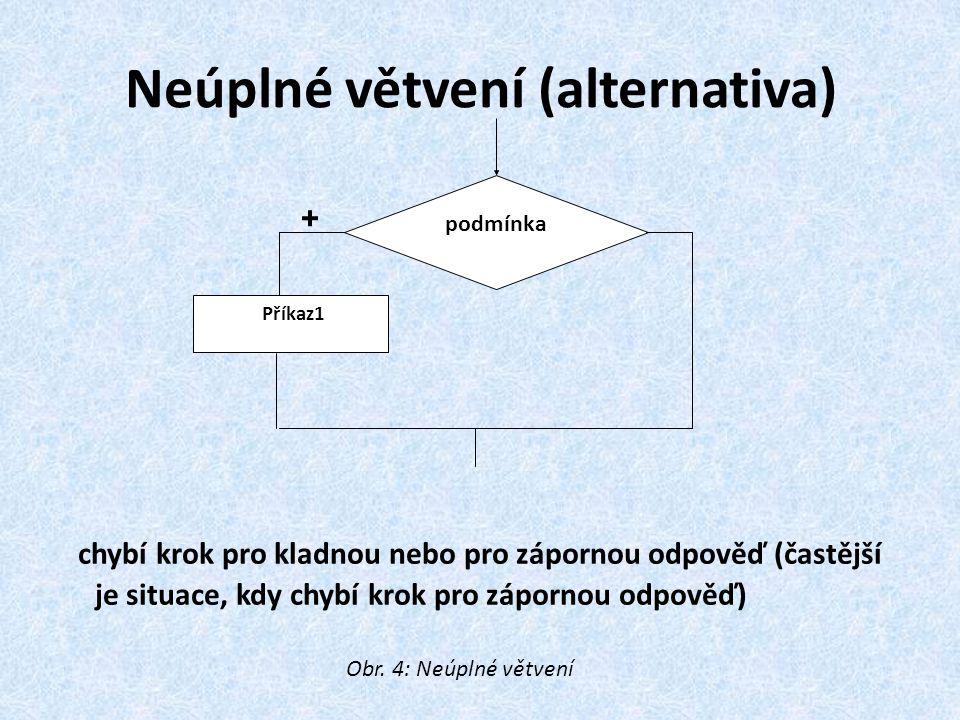 Neúplné větvení (alternativa)