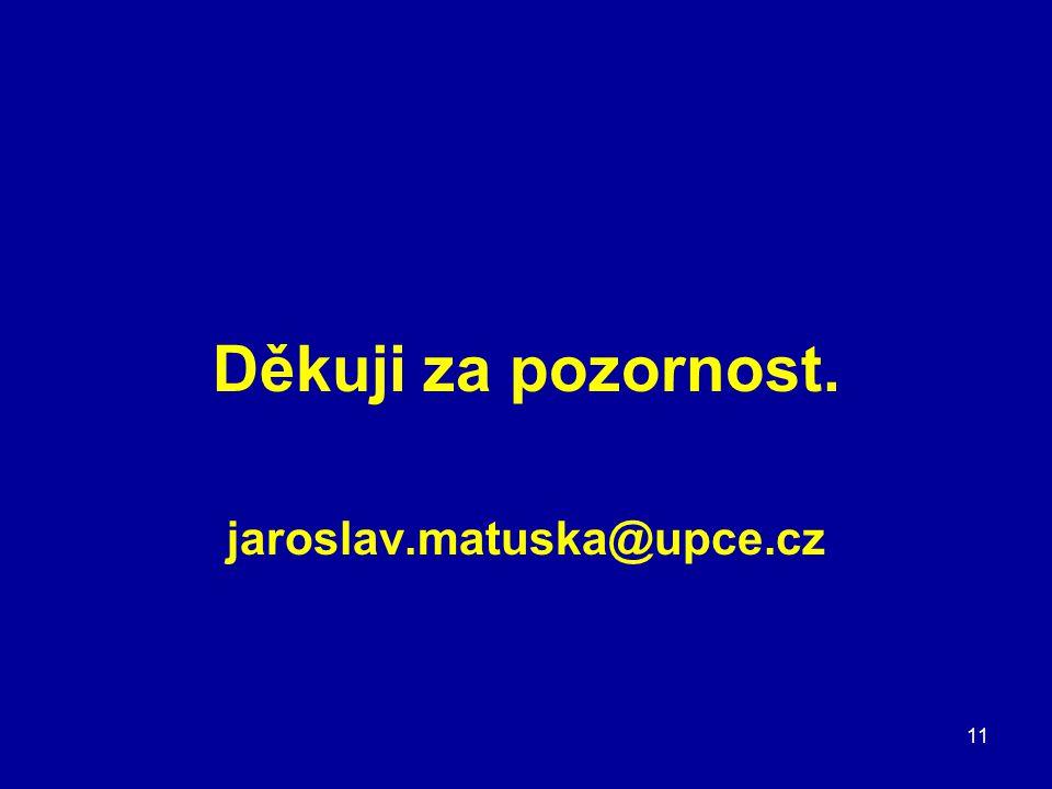 Děkuji za pozornost. jaroslav.matuska@upce.cz