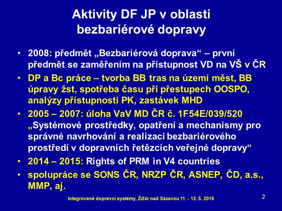Aktivity DF JP v oblasti bezbariérové dopravy