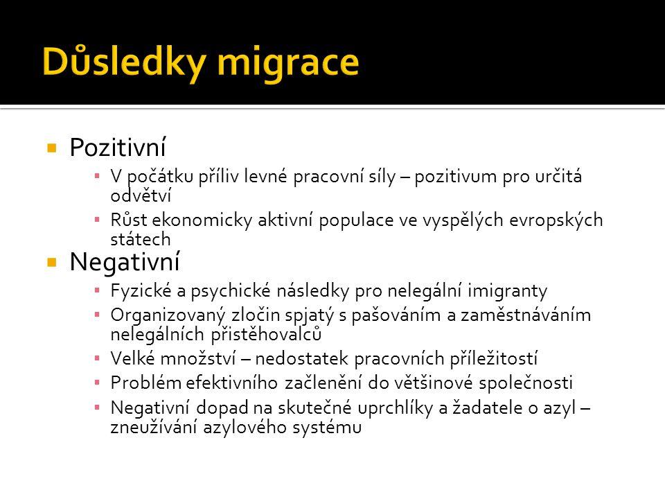Důsledky migrace Pozitivní Negativní